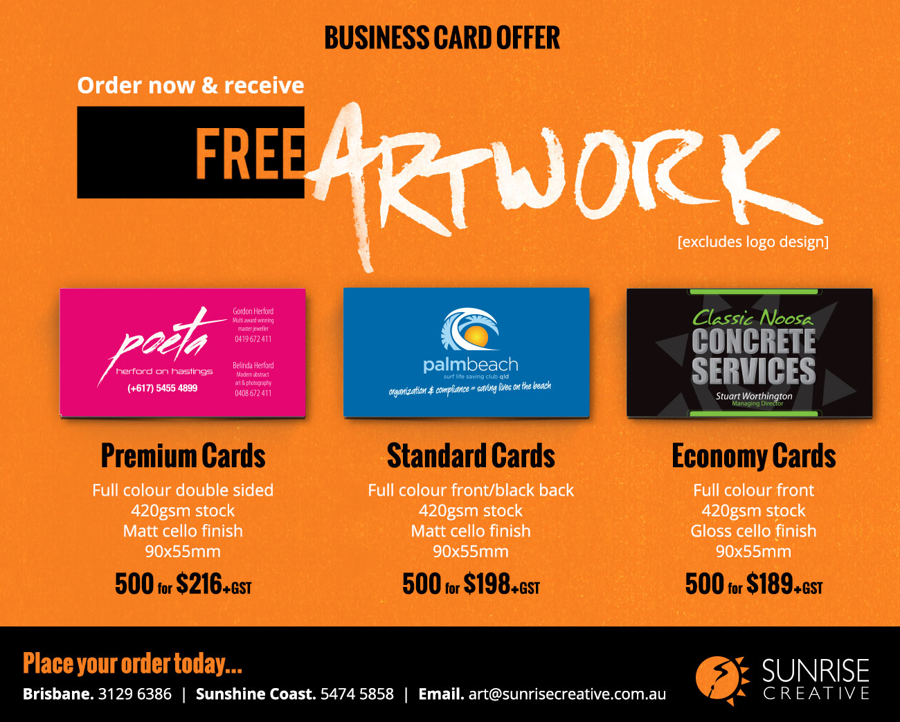 Business Card Offer… Free artwork for a limited time only ...